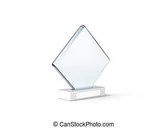 Blank glass trophy mockup stand on clear marble base, 3d...