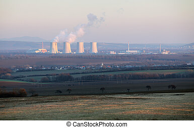 Countryside rural landscape with nuclear power plant