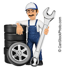 3D Mechanic with a stack of tyres and a huge wrench - 3d...