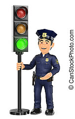 3D Police with a traffic light in green - 3d security forces...