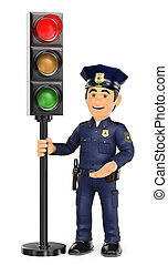 3D Police with a traffic light in red - 3d security forces...