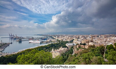 Cloud time lapse over Malaga - Wide angle view of cloud time...