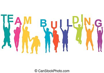 Team building concept with silhouette of men and women