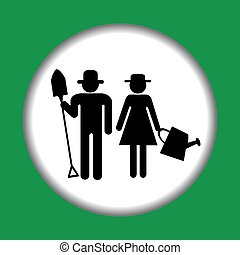 Farmer icon with farmers man and woman
