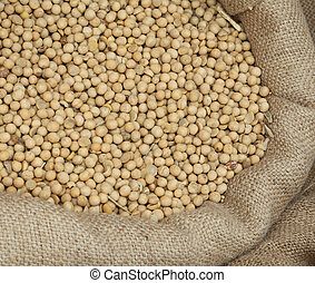 f ripe soybeans for sale at the market of cereals - bag of...