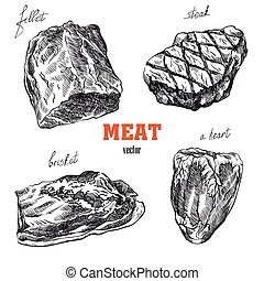 meat products set of hand drawn vector sketches on a white...