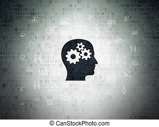 Business concept: Head With Gears on Digital Data Paper...