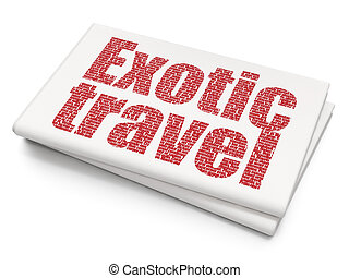 Vacation concept: Exotic Travel on Blank Newspaper...