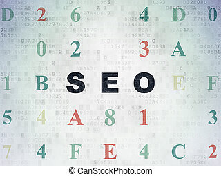 Web design concept: SEO on Digital Data Paper background -...