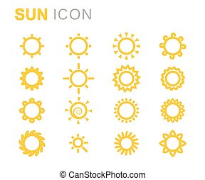 Vector yellow sun icons set on white background
