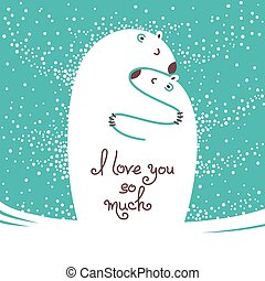 Two polar bears hugging each other. Greeting card with the...