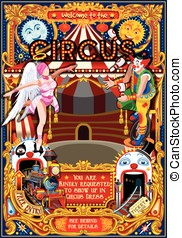 Carnival Circus Theme Park Poster Tent Invite Vector...