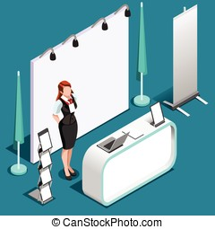 Exhibition 3D Booth Stand People Isometric Vector...