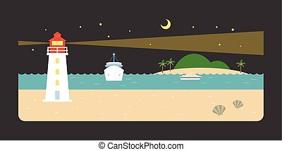 Info graphic and elements of lighthouse, sea, beach and coastal landscapes at night, flat design vector illustration