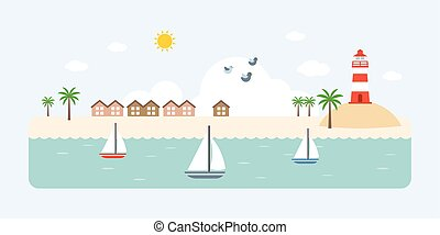 Info graphic and elements of resort, sea, beach and coastal...