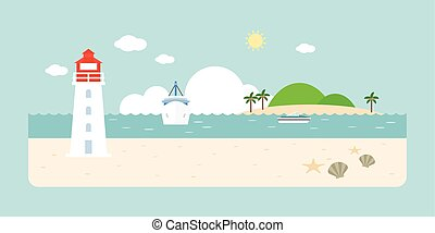 Info graphic and elements of lighthouse, sea, beach and...
