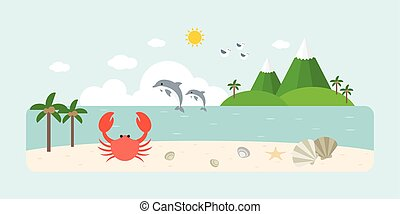 Info graphic and elements of natural sea, beach and coastal...
