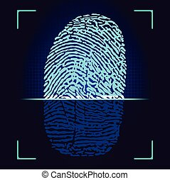 Fingerprint scanner. Vector fingerprint logo. Fingerprint...