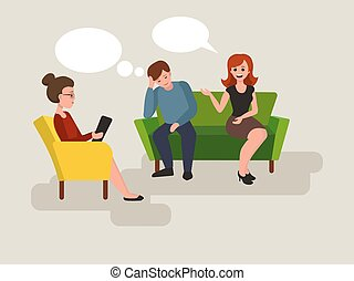 Couple at the psychologist cartoon vector - Couple at the...