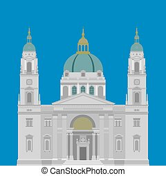 Hungarian City sights in Budapest. Hungary Landmark Travel And Journey Infographic. Architecture Elements St. Istvan basilica