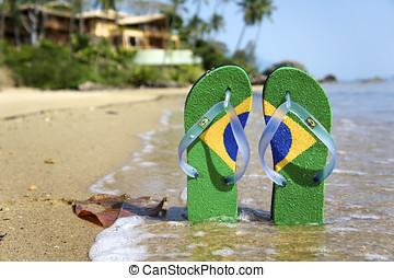 Brazilian Flipflop on the beach in Lihabela, Brazil