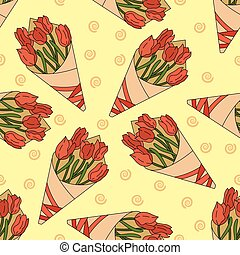 Seamless pattern with a bouquet of tulips
