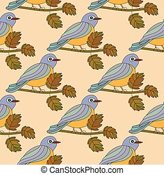 Seamless pattern with the tit on a branch. - Seamless...
