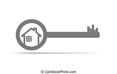 Real estate concept with house and key. illustration