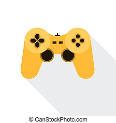Joystick icon. Vector illustration. - Yellow joystick icon....