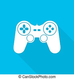 Joystick icon. Vector illustration. - White joystick symbol...