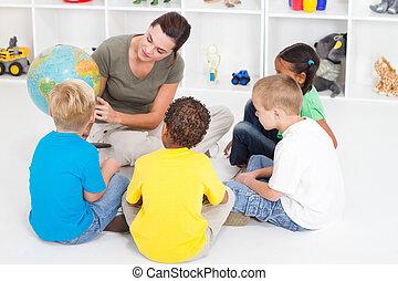pré-escolar, professor, ensinando, crianças