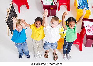 groupe, préscolaire, enfants