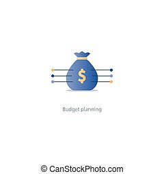 Big sack with money, financial investment safety plan,...