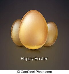 Golden Easter eggs, vector illustration. - Golden eggs,...