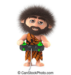 3d Funny cartoon primitive caveman playing a videogame with...