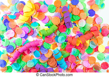 Colorful confetti and streamers with white background as template for celebration and party