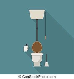 Toilet icon - Classic toilet flat illustration with toilet...
