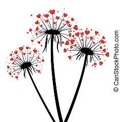 Valentine's background with love dandelions. - White...