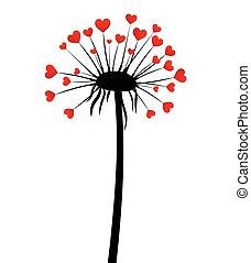 Valentine's background with love dandelion.