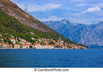 Village Perast on coast of Boka Kotor bay - Montenegro -...