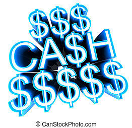 Cash sign winning prizes concept with clipping path 3d...