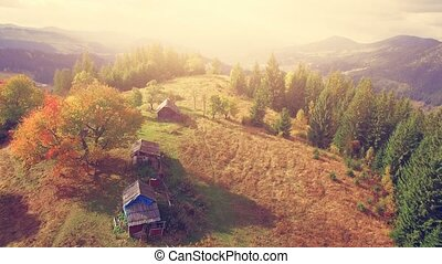 Aerial Drone Flight in Carpathian mountains