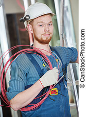 electrician worker with wiring - electrician builder...