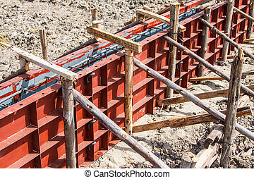 Reinforcement metal framework for concrete pouring at...