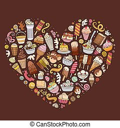 Colorful vector set of Ice cream cartoon doodle objects, symbols and items