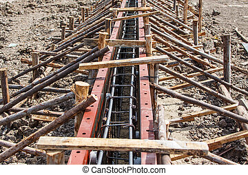 Reinforcement metal framework for concrete pouring