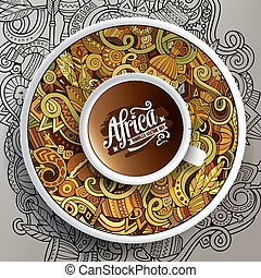 Vector illustration African doodle cup of coffee - Vector...