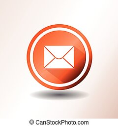 Email Icon In Flat Design - Illustration of a flat design...