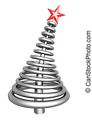 Abstract silver aluminum christmas tree
