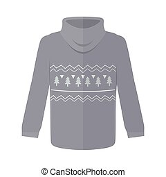 Sweater or Jumper with Fir Tree Icons Isolated - Sweater or...